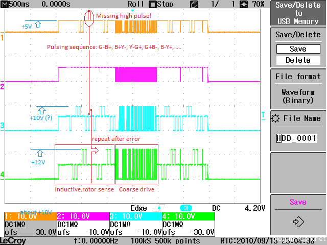 Scope screenshot for HDD drive signals
