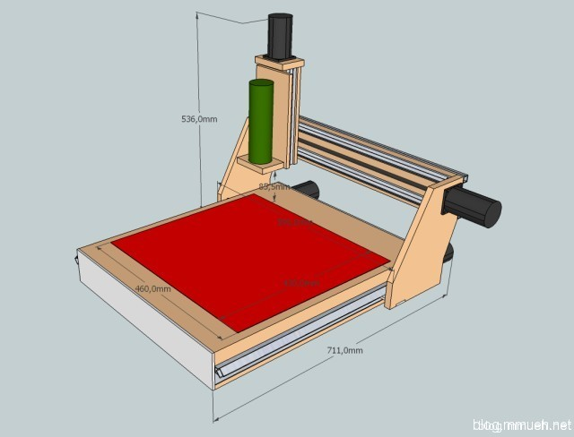 Sketchup of cnc mill